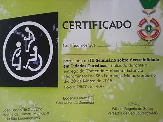 certificado Acessibilidade em Cidades Turística 2015