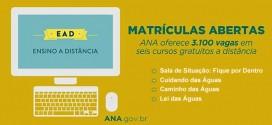 ANA recebe inscrições para 3,1 mil vagas em cursos gratuitos sobre recursos hídricos